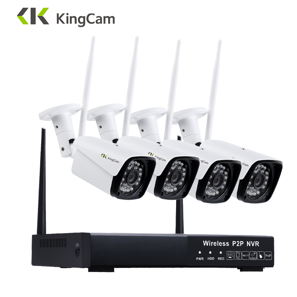 KingCam 4CH 1080P WiFi NVR 4PCS 2MP IR Outdoor Weatherproof CCTV Wireless 1080P IP Camera Security Video Surveillance System Kit