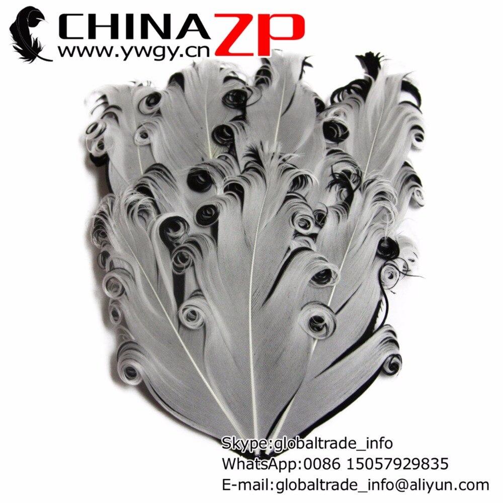 Fournisseur d'or CHINAZP usine 50 pcs/lot blanc et noir Curled Nagorie plume d'oie Pad bandeau pour accessoires de cheveux