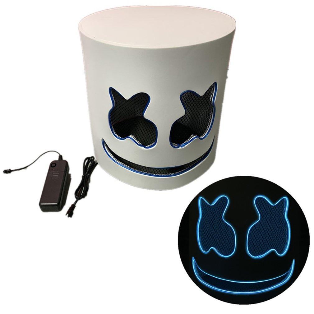 DIY EVA DJ Marshmallow EL Wire LED Helmet Mask Cosplay Prop Halloween Mask Full Face Cosplay Prop Halloween Party Bar Masks