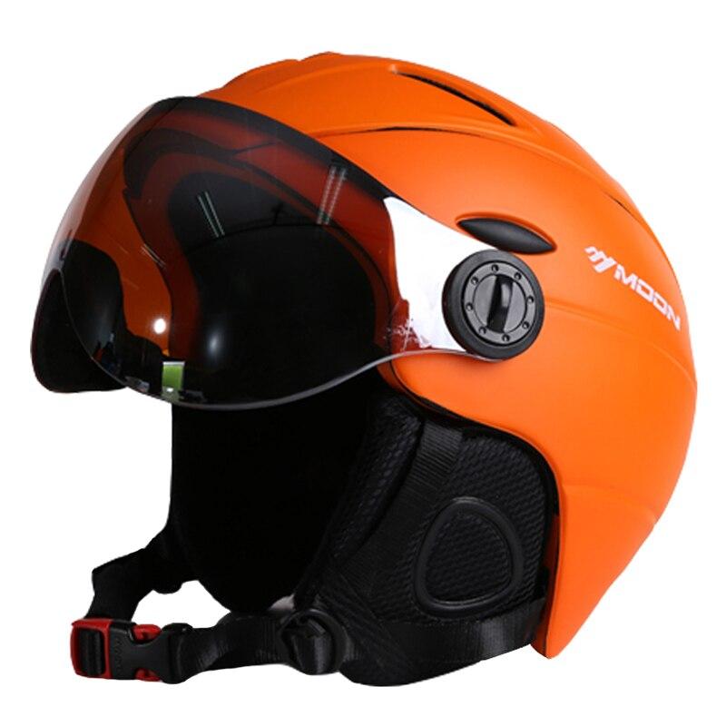 MOON Top Quality Goggles Ski Helmet CE Certification Safety Skiing Helmet With Glasses Skating Skateboard Snowboard Helmet