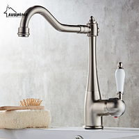 Brushed Nickel Kitchen Faucets Brass Silver Crane Bathroom Faucet Ceramic Single Handle Single Hole Mixer Taps Hot Cold Water