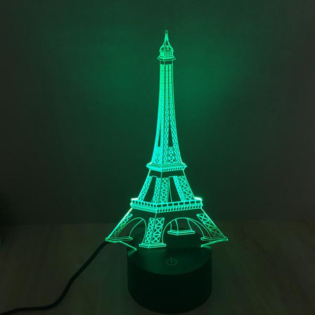 Lámpara LED Luz de La Noche creativa Ilusión 3D 3D Torre Eiffel Acrílico Decoloración Atmósfera Colorida Lámpara de Mesa de Iluminación de La Novedad