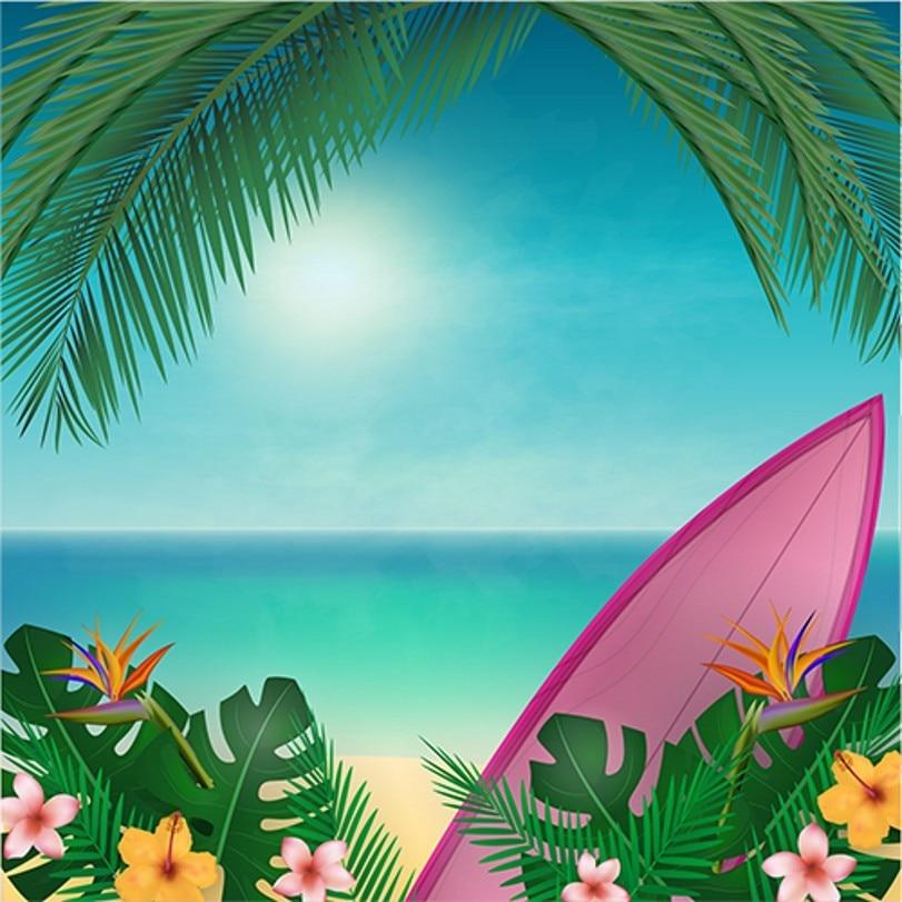 Flower Leaves Sea Boat Beach Hawaii Backgrounds Vinyl