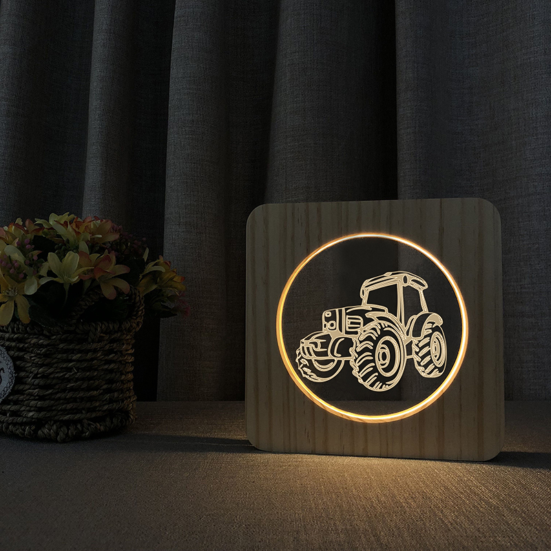 Tractor Lamp LED USB 3D Night Light Baby Room Decoration Wooden Warm Lights Home Decor Party Birthday Holiday Gift Drop Shipping icoco usb rechargeable led magnetic foldable wooden book lamp night light desk lamp for christmas gift home decor s m l size