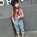 Kids girls 2016 Spring autumn NEW  Fashion casual cowboy Straight button fly children's Overalls  For 2-6 Years baby girls