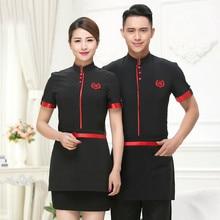 Hotel Uniform Summer Waitress Overalls Short Sleeved Overalls Fast food Waiter Uniforms Restaurant Western Restaurant.