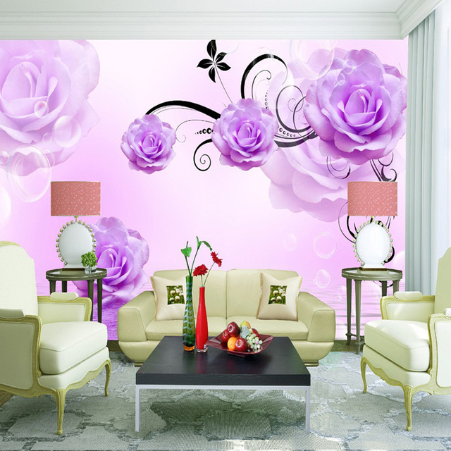 Purple Rose Floral Deep Embossed 3D Brick Wall Paper Vintage Pattern ...