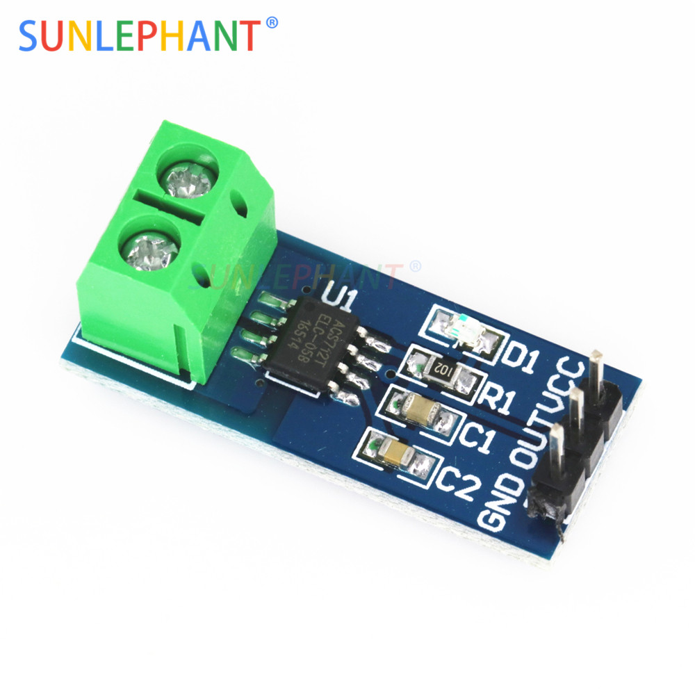 US $1 36  5A/20A/30A ACS712 ACS712ELC Hall Test Current Sensor Module Board  For Arduno 5V Power Supply Indicator VCC 2 Diy Kit-in Integrated Circuits