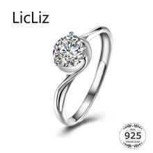 LicLiz 2019 New 925 Sterling Silver Zircon Open Rings for Women White Gold CZ Crystal Jewelry Anillos Joyas de Plata LR0790