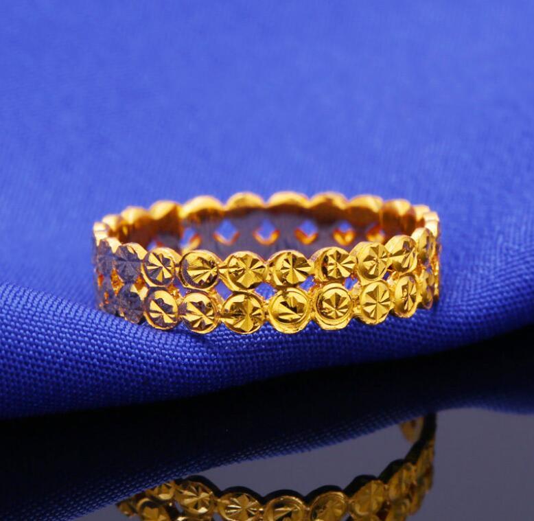 Аутентичные 24 К кольцо из желтого золота/Для женщин два ряда монета кольцо/3 г нам Размеры: 6