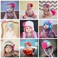 Hecho a mano Del Bebé Del Ganchillo Sombrero de La Flor de Lana de Punto de los Bebés Sombreros Al Por Mayor 60 unids