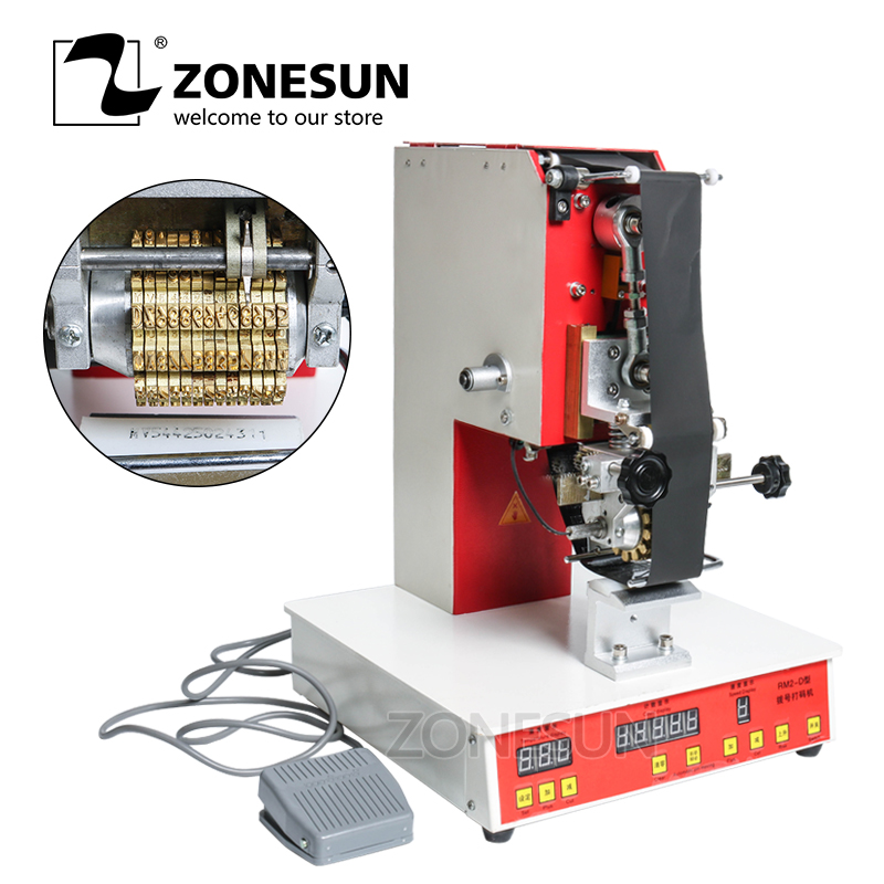 ZONESUN Rolling Ribbon Printer Electric Hot Thermal Printing Machine Number Turning Expiration Code Date Number Printer applicatori di etichette manuali