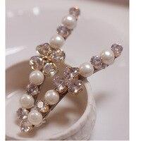MANWII  Korean version of the new fashion cute zircon pearl hairpin side folder Liu Hai folder word clip jewelryAQ127
