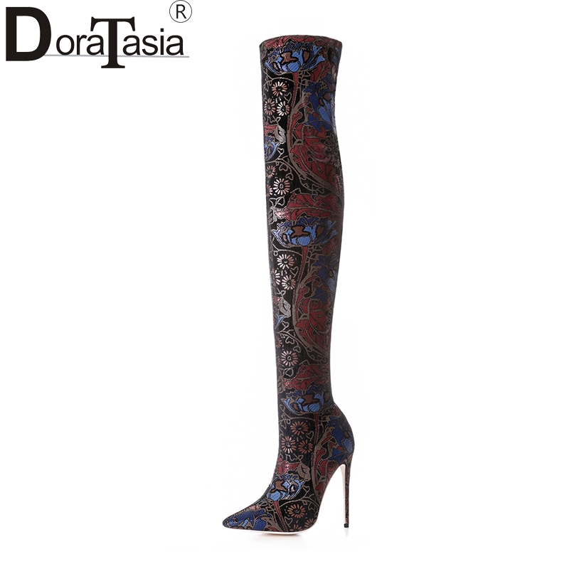 DoraTasia 2018 large size 33-43 printing women shoes woman sexy over the knee boots slip on thin high heels party boots new sexy women boots winter over the knee high boots party dress boots woman high heels snow boots women shoes large size 34 43