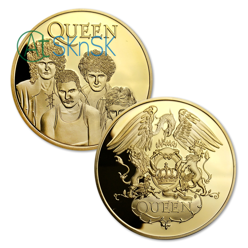 1PC QUEEN Rock Band Music Commemorative Legends Gold/Silver Plated Coins Collectibles for Collector Fans Gifts, with stand