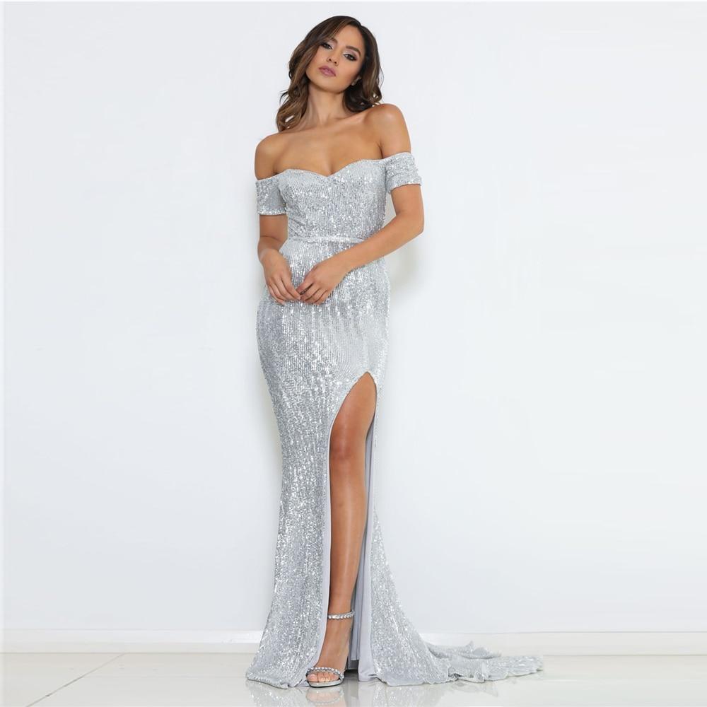 Silver Sequined Maxi Dress Split Front Off The Shoulder Bodycon Floor Length Dress Elegant Mermaid Dress