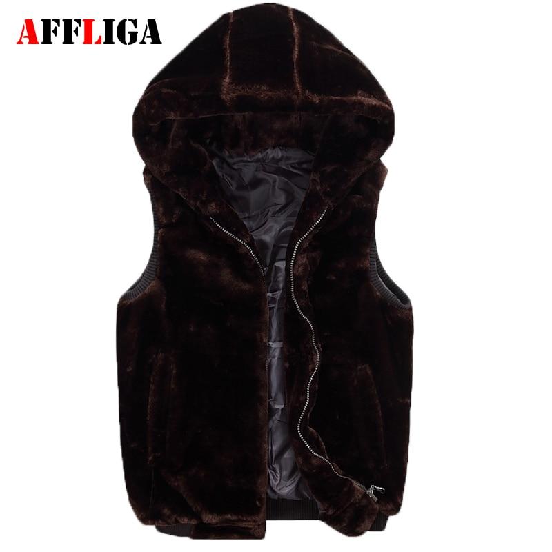 New Couples Plush Vest 2017 Autumn Winter Male Fashion Casual Solid Color Fake Mink Fur Vest Hooded Thicken Vest Mens Waistcoat