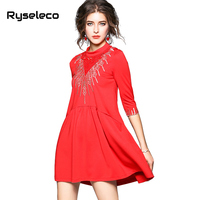 Ryseleco Fashion Women Streetwear 3 4 Sleeve Abstract Embroidery Mini Dress Pockets Solid Cutout Floral Lace