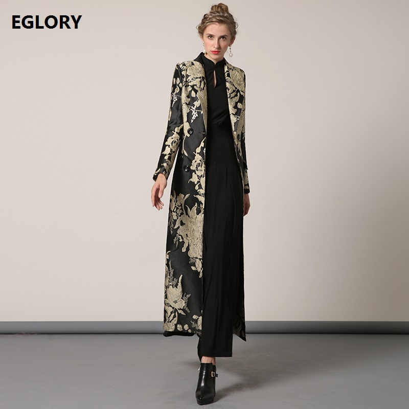 XXXXL Women New Plus Size Clothing 2019 Autumn Winter Long Coat Vintage Jacquard Print X-Long Trench Coat Outerwear Overcoats