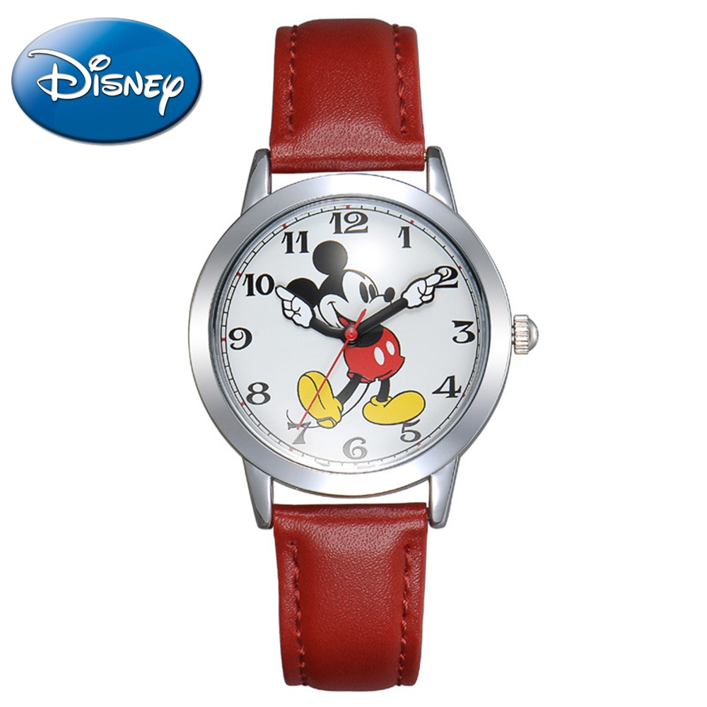 New Mickey mouse cuties waterproof watch clever boy girl love black red wristwatch Student young sports DISNEY brand 11027 clock нижнее белье disney 041100972 cuties 2014 9721 9726