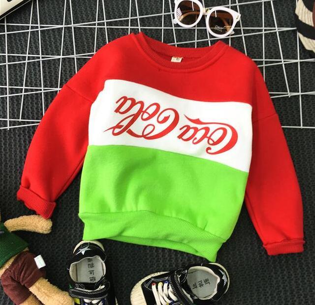 2016 winter and autumn patchwork new children warm boys and girls thicker round neck sweater pullover version shirt