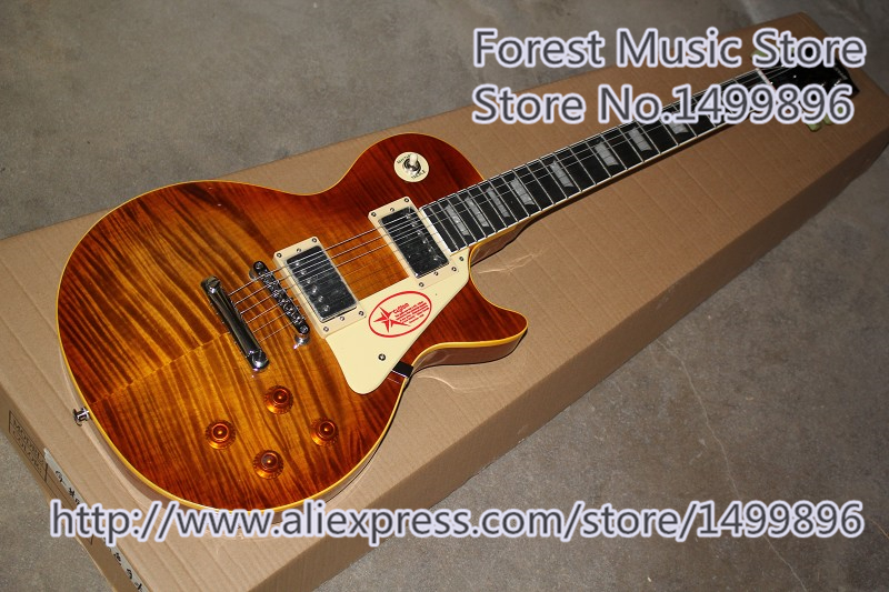 Hot Selling Classical 1959 LP Electric Guitars Tiger Flame Finish R9 LP Guitar For Sale hot selling cheap price sg standard electric guitar bigpsy tremolo stain finish chinese guitars in stock for sale