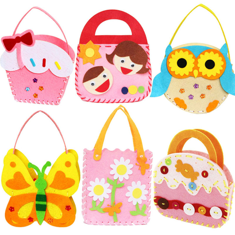 4pcs/Pack Non-Woven Fabric DIY Handbag Children Craft Toy Cartoon Animal Flower Handmade Sewing Bag Educational Toys Kids Gift