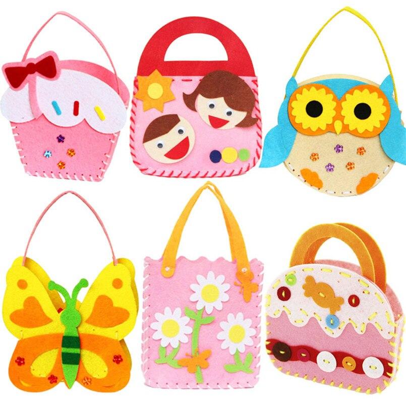 4pcs/Pack Non-Woven Fabric DIY Handbag Children Craft Toy Cartoon Animal Flower Handmade Sewing Bag Educational Toys Kids Gift