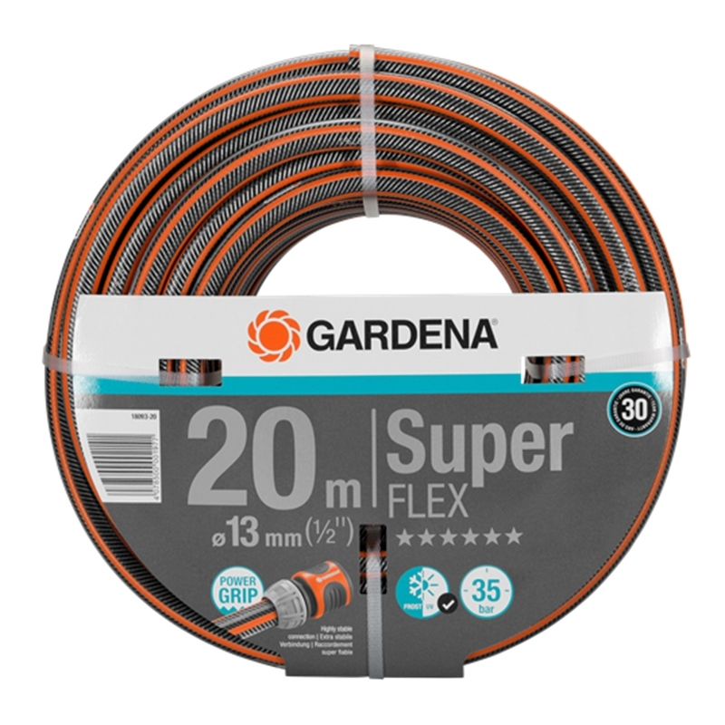 Hose поливочный GARDENA 18093-20.000.00 (Length 20 m, diameter 13mm (1/2) maximum pressure 35 bar, reinforced, светонепроницаем, resistant to ultraviolet radiation) dropper internal equalizing pressure gardena 2l h 10 pcs in blister home
