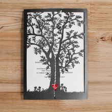 Black Wedding Invitations, Tree Red Heart Invitation Cards - Pack of 50