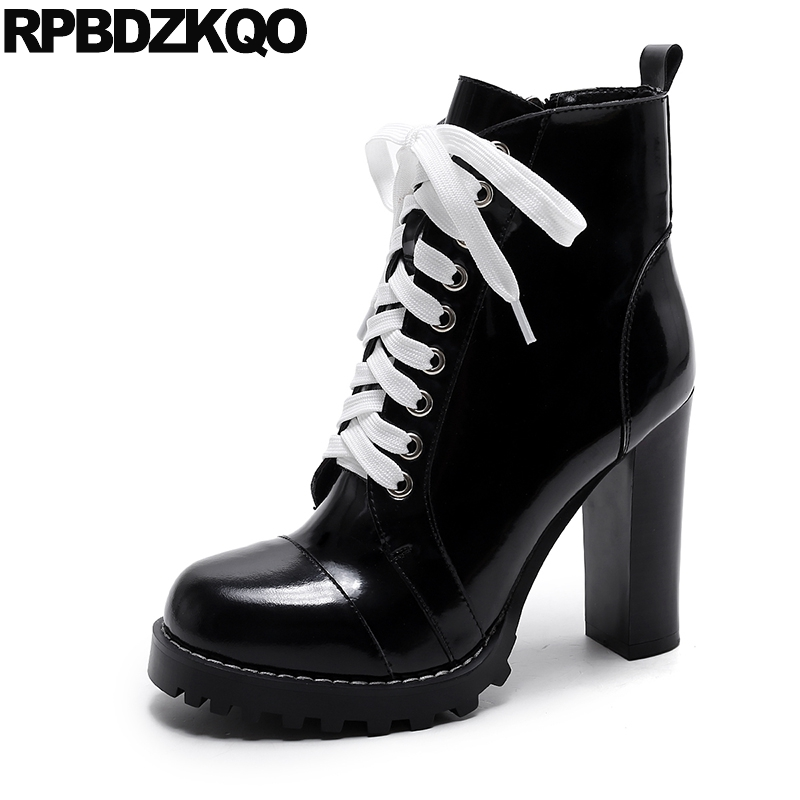 Shoes Round Toe Genuine Leather Black Ankle Waterproof Winter Boots Women Booties High Heel Patent Lace Up Chunky New Big Brand sfzb new square toe lace up genuine leather solid nude women ankle boots thick heel brand women shoes causal motorcycles boot