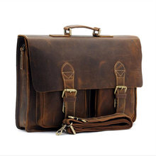 ريترو حقيبة حقيبة رجالية مجنون الحصان الجلود متعددة جيب 15.6 بوصة جلد البقر حقيبة كروسبودي الكتف محمول الرجال sacoche أوم