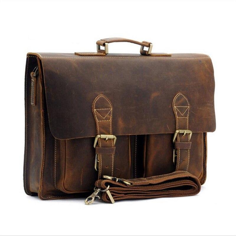 Porte-documents rétro sac pour hommes Crazy Horse en cuir multi-poches 15.6 pouces en cuir de vachette sac à main bandoulière épaule ordinateur portable hommes sacoche homme