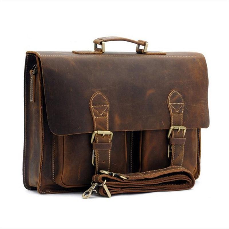 Retro Briefcase Men's Bag Crazy Horse Leather Multi-Pocket 15.6 Inch Cowhide Handbag Crossbody Shouler Laptop Men Sacoche Homme