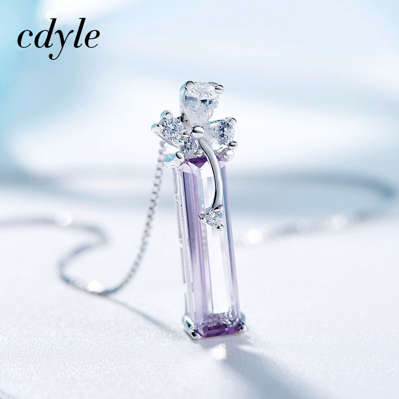 Cdyle Necklace Women Pendants S925 Sterling Silver Jewelry Geometric Austrian Rhinestone Paved Elegant Valentine's Day Gift graceful rhinestone geometric bullet necklace for women
