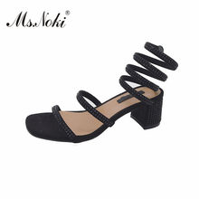 Ms.Noki fashion Rhinestone Thick with wedges women sandals solid crystal ladies  shoes Snake around the foot woman sandals summer 9000605a9d80