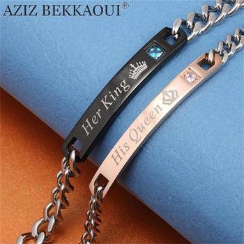 Aziz bekkaoui diy son roi sa reine couple bracelets en acier inoxydable crytal couronne charme bracelets pour femmes hommes drop shipping