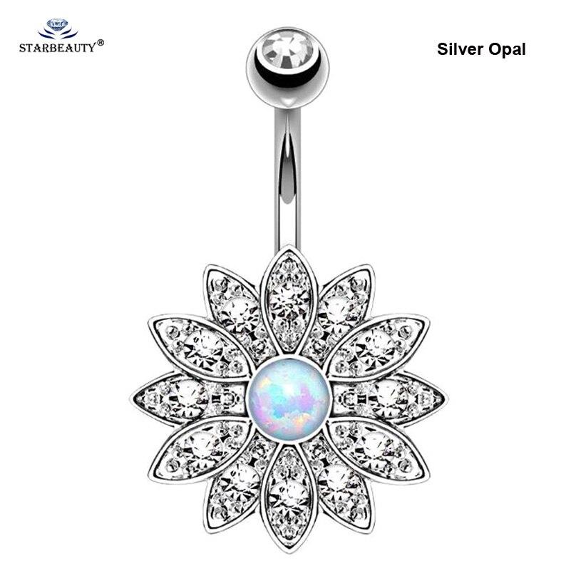 1pc puro loto opale anelli piercing ombelico piercing ombelico - Bigiotteria - Fotografia 4