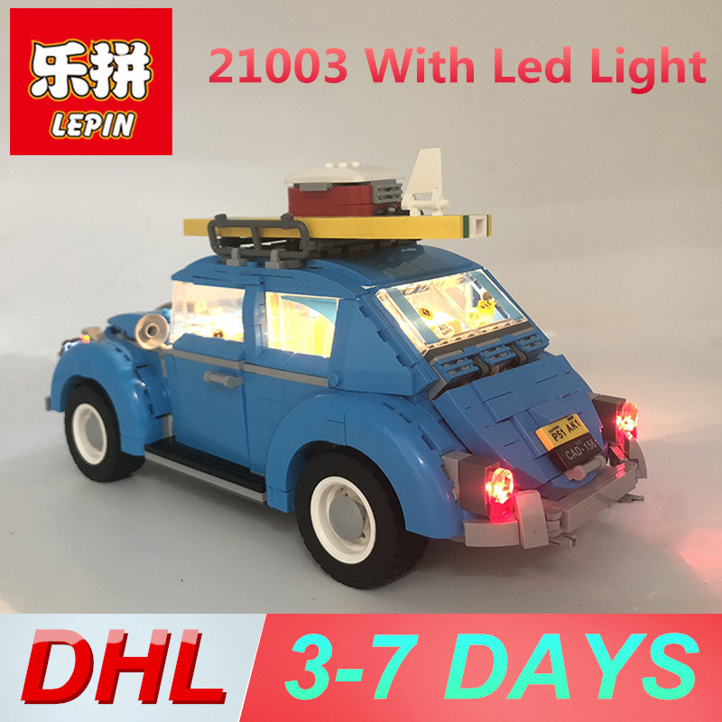 Lepin 21003 with LED Light Beetle Building Blocks Legoing 10252 Lepin Technic Bricks Toys for Kids 21001 lepin 21003 series city car beetle model building blocks blue technic children lepins toys gift clone 10252