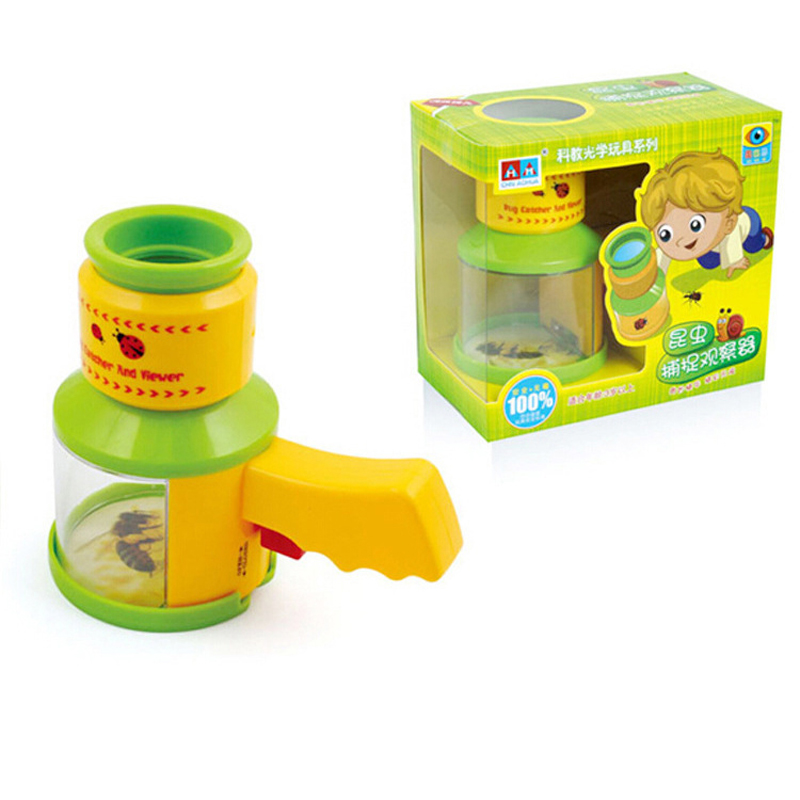 Cartoon Insect Trap Exploration Magnifying Glass Childrens Science Experiment Early Educational Teaching Tool for Birthday Gift