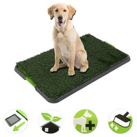 Resubale Pet Lawn Puppy Toilet Training Mat Indoor Washable Potty Pad Litter Tray House Trainer Grass Mat Restroom Grey Bottom