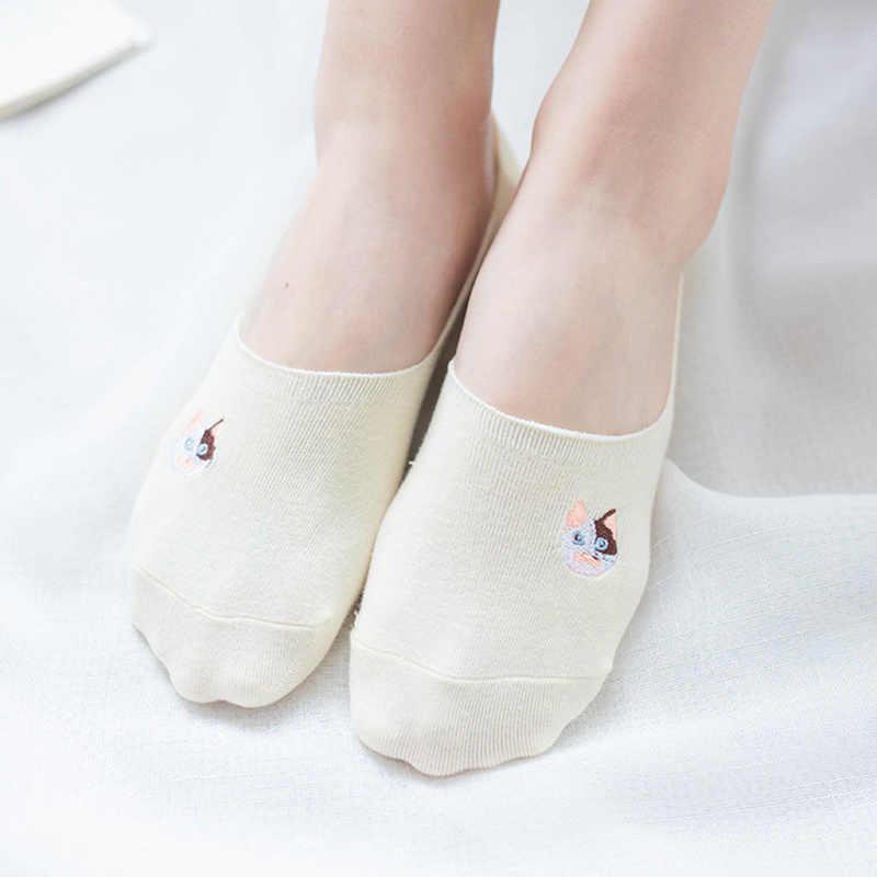 Dreamlikelin אביב קיץ Kawaii כותנה לא להראות גרבי נשים החלקה חתול אופנה חתול Paw דפוס גרביים בלתי נראים