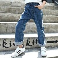Çocuk Konfeksiyon çocuk 2017 Sonbahar Giyim Yeni Desen Kot Kolay Geniş Bacak Pantolon Boş Zaman Kot