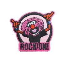 Factory Custom Embroidered Patch Rock On Pink Lion Punk Emo Iron on Applique can be customized with your logo