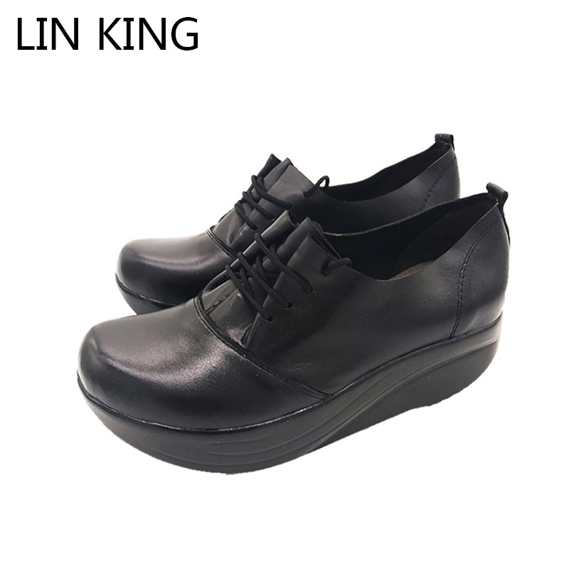 LIN KING Spring Autumn Women Swing Shoes Casual Wedges Platform Comfortable Solid Lace Up Round Toe Mom Nurse