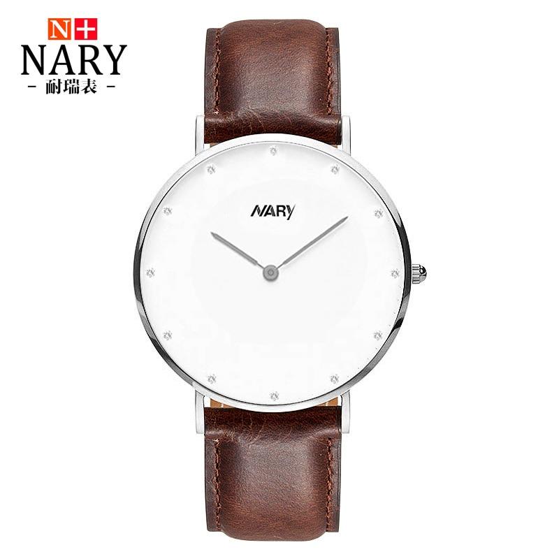 Nary Fashion Watches Women Men Luxury Brand Silver Watch Leather Strap Lovers Wrist watch Simple Quartz