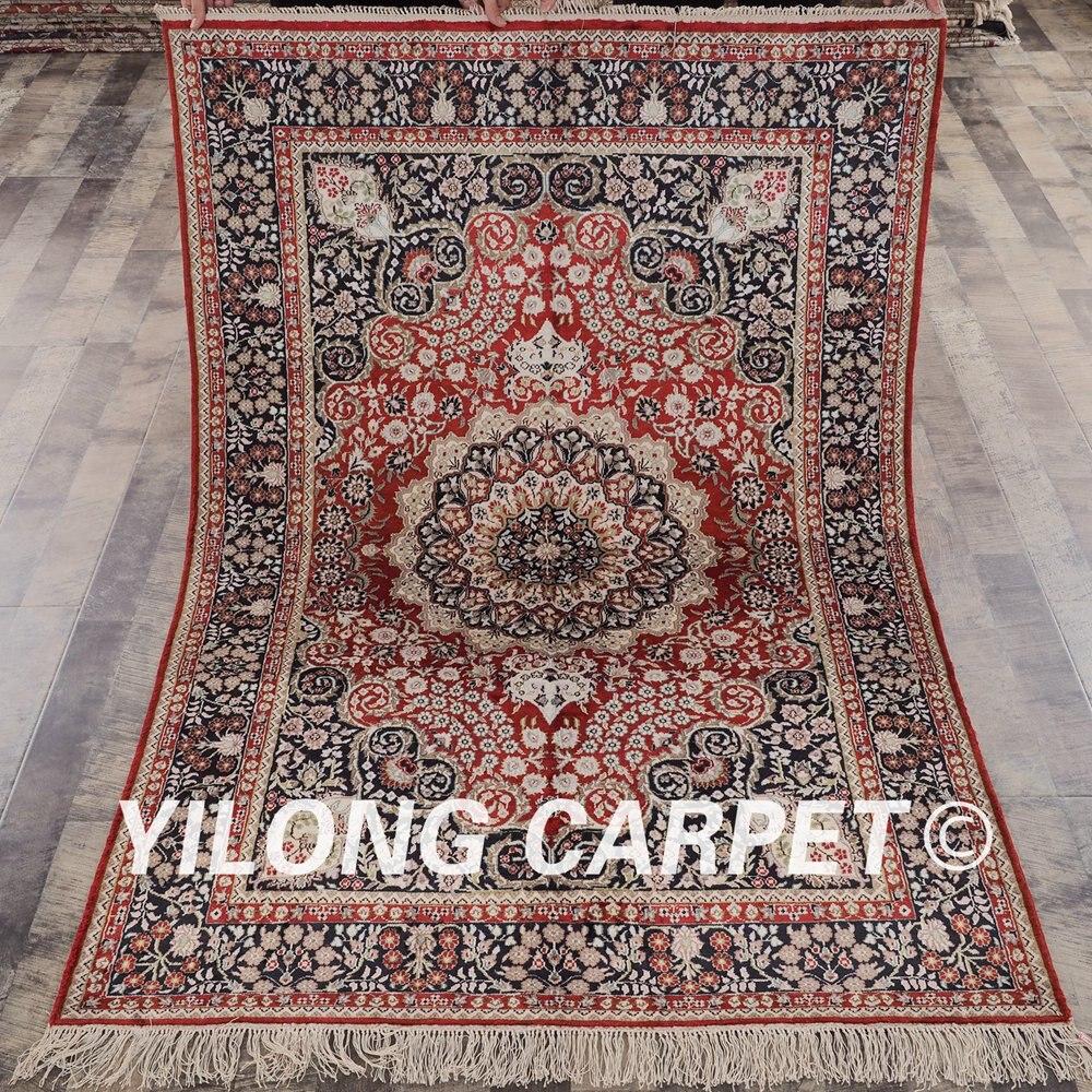YILONG 4'x6 'tapis de soie persan traditionnel rouge vantage antique oriental tapis de soie (YHW90AB4x6)