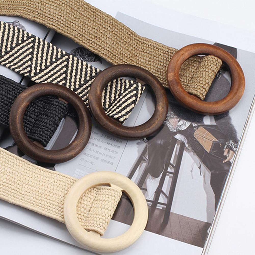 Round Wooden Buckle Design Braided Belts For Women Boho Woven Strap Waist Belt For Women Dress Jeans Black Plastic Drop Shipping