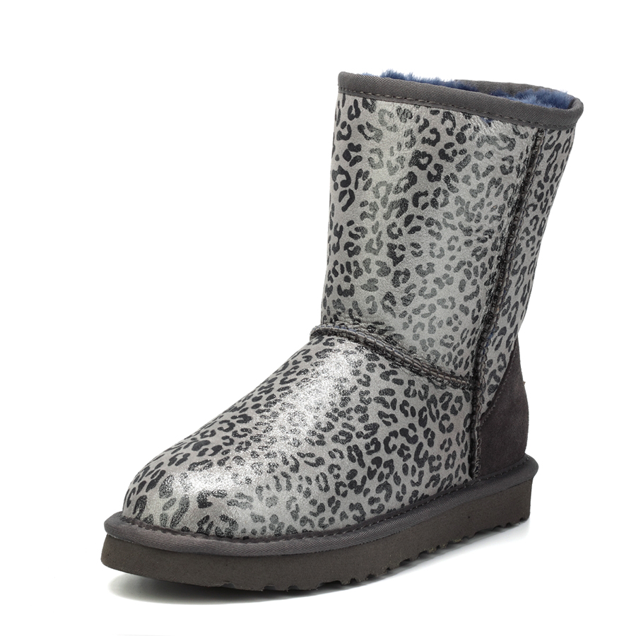 New Fashion 2017 Top Quality  Genuine Sheepskin Leather Snow Boots Natural Fur Leopard Mid-Calf Botas Mujer Winter Women Shoes