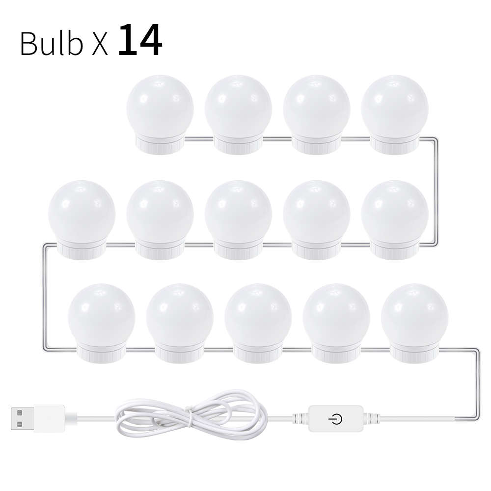 USB LED 12V Makeup Light Led Vanity Table Mirror Light 2 6 10 14 Bulb LED Hollywood Make Up Lamp Stepless Dimmable Wall Lamp in LED Indoor Wall Lamps from Lights Lighting